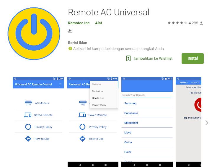 Aplikasi Remote AC Universal untuk ac gree