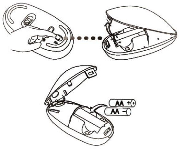 pasang baterai pada mouse wireless